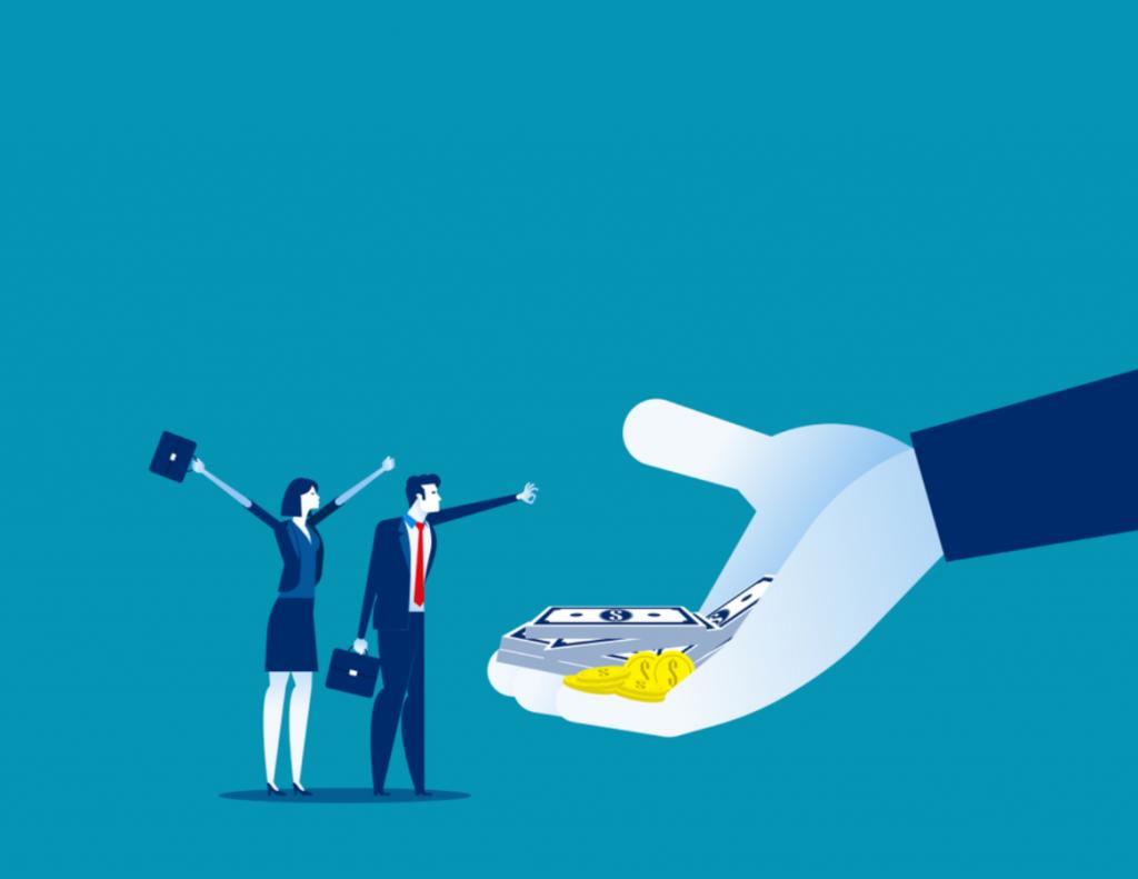 vetor de mão oferecendo dinheiro para duas pessoas