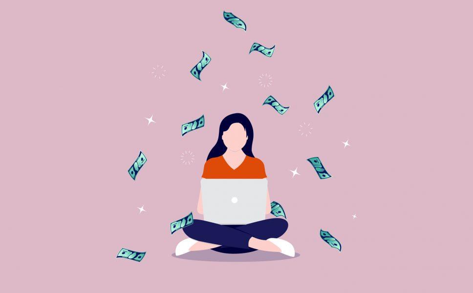 vetor de mulher no computador com dinheiro