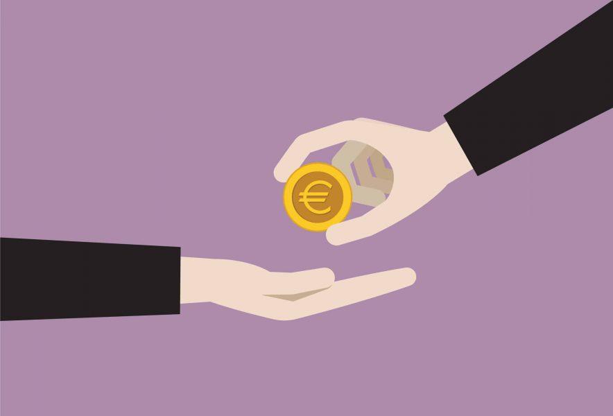 vetor de mãos e dinheiro