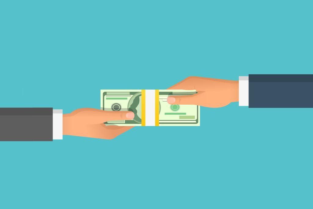 vetor entregando dinheiro