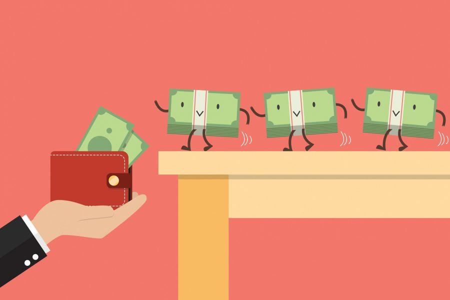 vetor de dinheiro na carteira